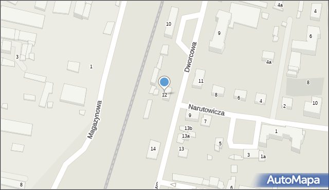 Mogilno, Dworcowa, 12, mapa Mogilno