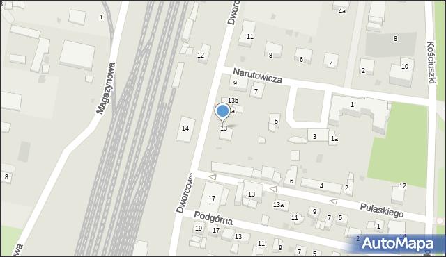 Mogilno, Dworcowa, 13, mapa Mogilno