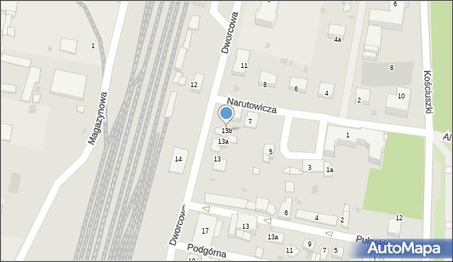 Mogilno, Dworcowa, 13b, mapa Mogilno