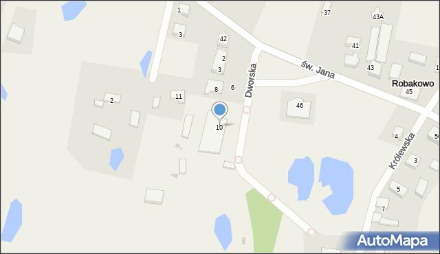 Robakowo, Dworska, 10, mapa Robakowo