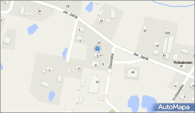 Robakowo, Dworska, 3, mapa Robakowo