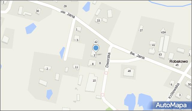Robakowo, Dworska, 4, mapa Robakowo
