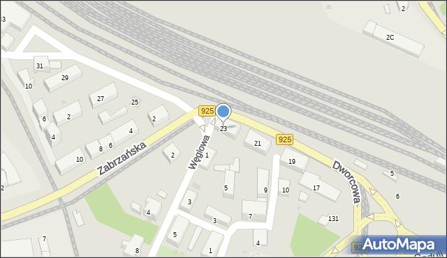 Ruda Śląska, Dworcowa, 23, mapa Rudy Śląskiej