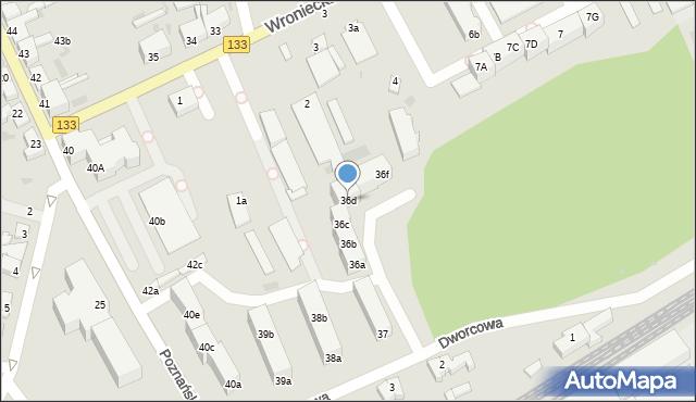 Sieraków, Dworcowa, 36d, mapa Sieraków