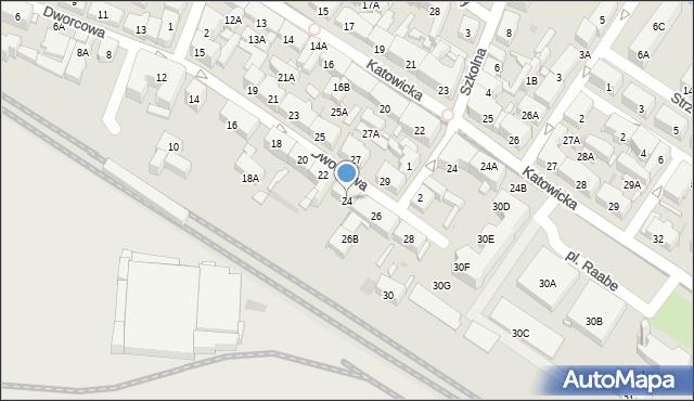 Świętochłowice, Dworcowa, 24, mapa Świętochłowice