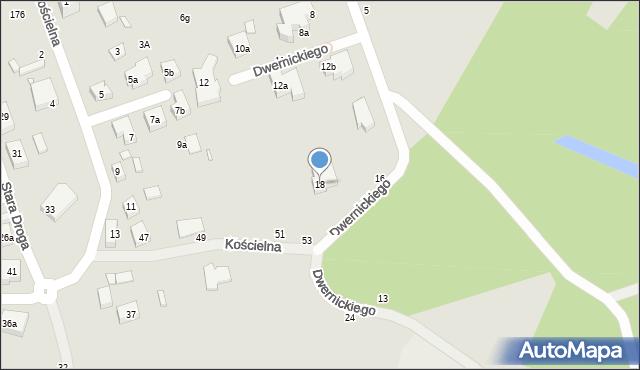 Toruń, Dwernickiego Józefa, gen., 18, mapa Torunia