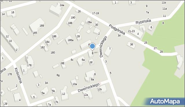 Toruń, Dwernickiego Józefa, gen., 6, mapa Torunia