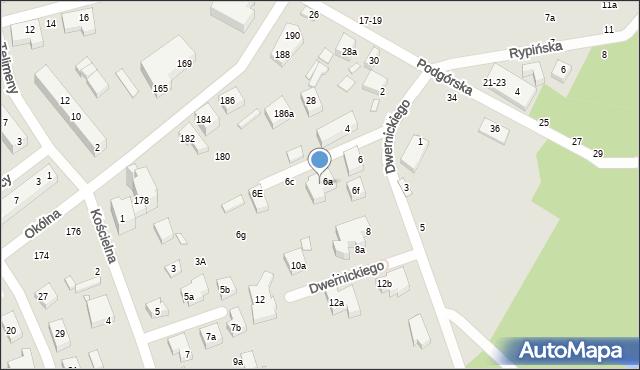 Toruń, Dwernickiego Józefa, gen., 6b, mapa Torunia
