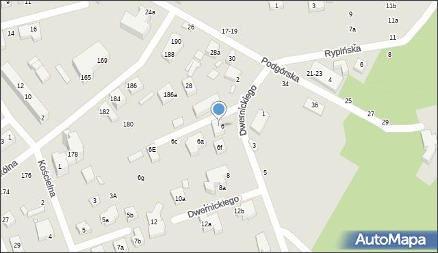 Toruń, Dwernickiego Józefa, gen., 6g, mapa Torunia