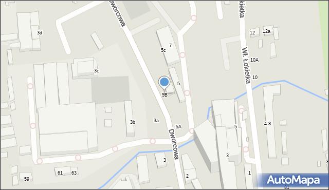 Toruń, Dworcowa, 5B, mapa Torunia