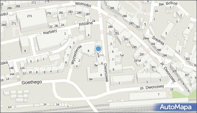 Zabrze, Dworcowa, 4, mapa Zabrza