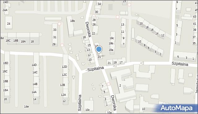 Zabrze, Dworska, 21, mapa Zabrza