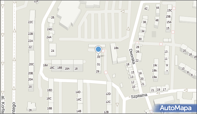 Zabrze, Dworska, 33, mapa Zabrza