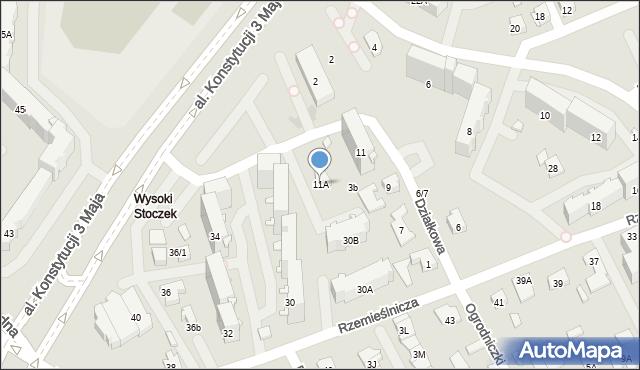 Białystok, Działkowa, 11A, mapa Białegostoku