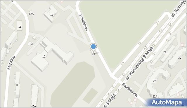 Białystok, Działkowa, 13, mapa Białegostoku