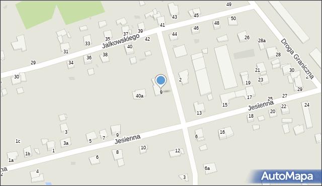 Grudziądz, Działkowa, 9, mapa Grudziądza