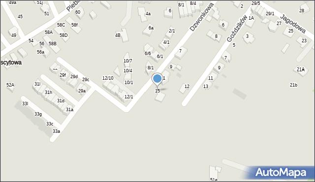Mikołów, Dzwonkowa, 15, mapa Mikołów