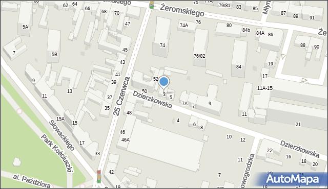 Radom, Dzierzkowska, 3, mapa Radomia
