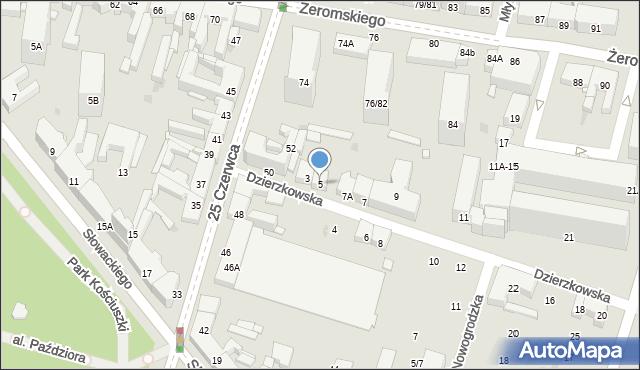 Radom, Dzierzkowska, 5, mapa Radomia