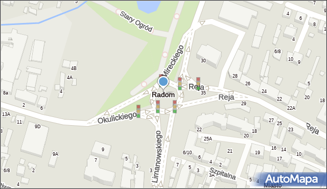 Radom, Dzika, 3, mapa Radomia