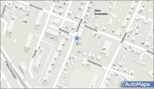 Sosnowiec, Dziewicza, 15, mapa Sosnowca
