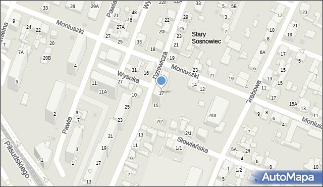 Sosnowiec, Dziewicza, 17, mapa Sosnowca