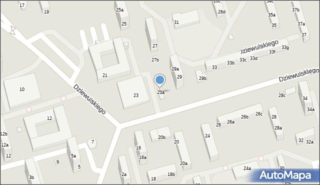Toruń, Dziewulskiego Władysława, 23a, mapa Torunia