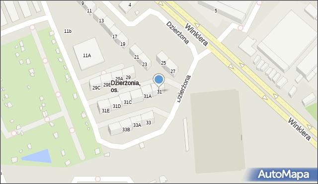 Zabrze, Dzierżona Jana, ks., 31, mapa Zabrza