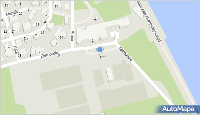 Gdynia, Ejsmonda Juliana, 3, mapa Gdyni