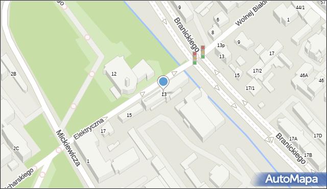 Białystok, Elektryczna, 13, mapa Białegostoku