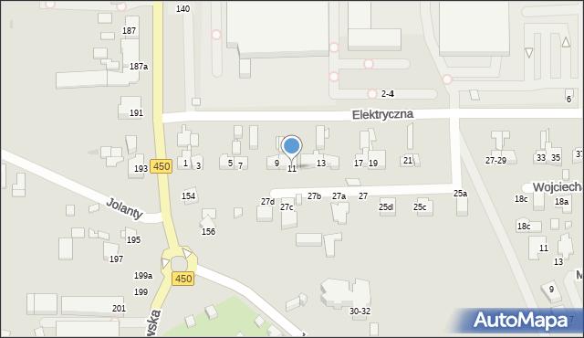 Kalisz, Elektryczna, 11, mapa Kalisza