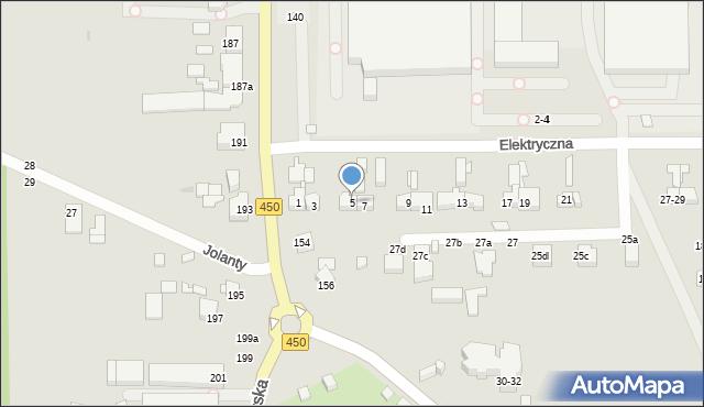 Kalisz, Elektryczna, 5, mapa Kalisza