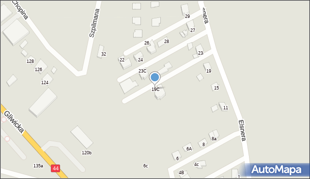 Mikołów, Elsnera Józefa, 19C, mapa Mikołów