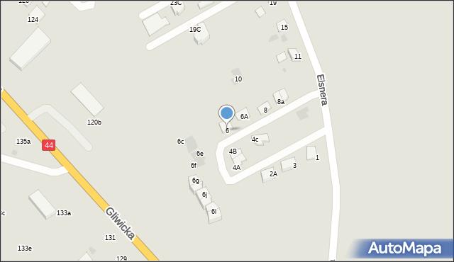 Mikołów, Elsnera Józefa, 6, mapa Mikołów