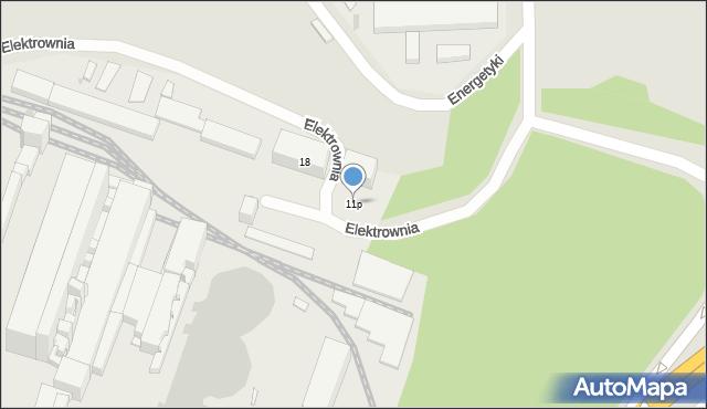 Bytom, Energetyki, 11p, mapa Bytomia