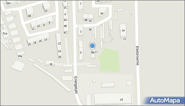Bytom, Energetyki, 5A, mapa Bytomia