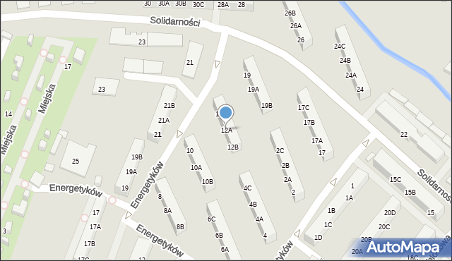 Ruda Śląska, Energetyków, 12A, mapa Rudy Śląskiej