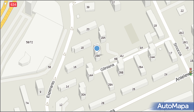 Warszawa, Esperanto, 16A, mapa Warszawy