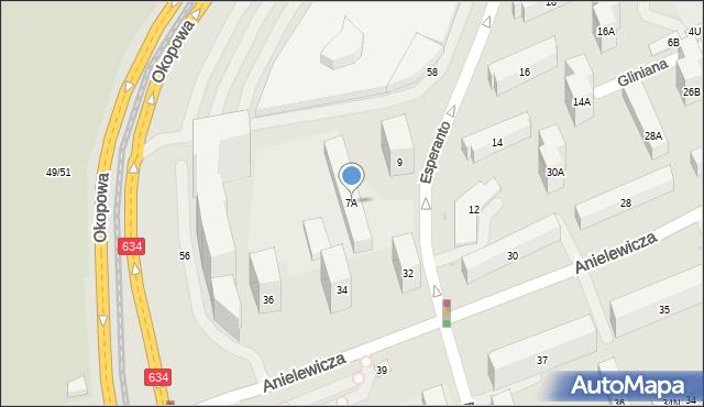 Warszawa, Esperanto, 7A, mapa Warszawy