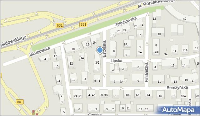 Warszawa, Estońska, 5A, mapa Warszawy