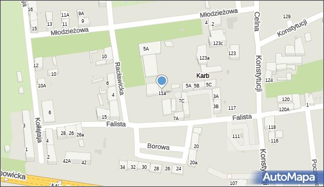 Bytom, Falista, 11a, mapa Bytomia
