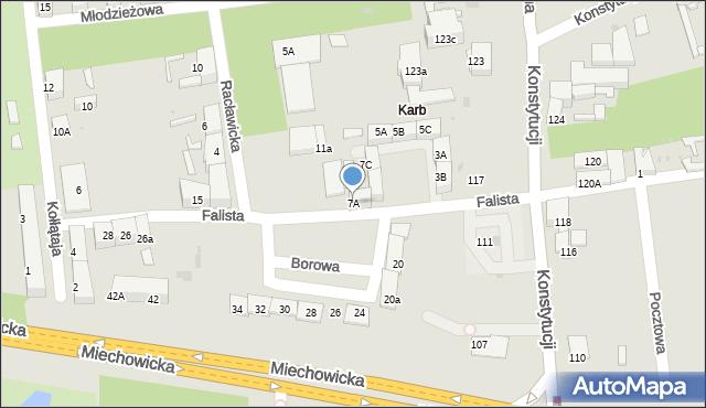 Bytom, Falista, 7A, mapa Bytomia