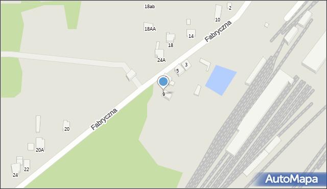 Łazy, Fabryczna, 9, mapa Łazy