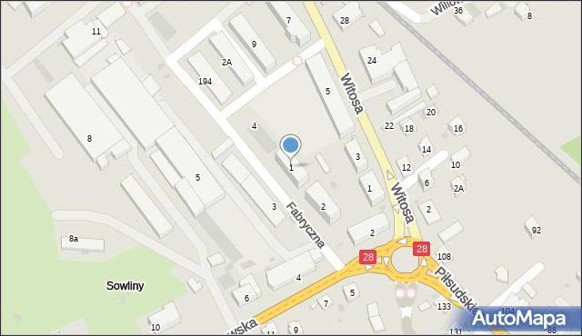 Limanowa, Fabryczna, 1, mapa Limanowa