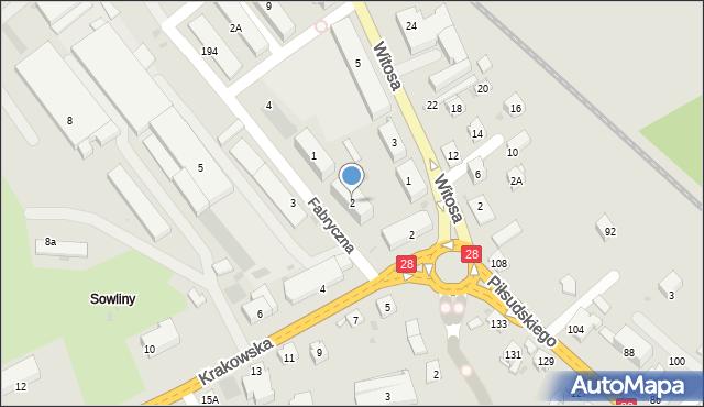 Limanowa, Fabryczna, 2, mapa Limanowa