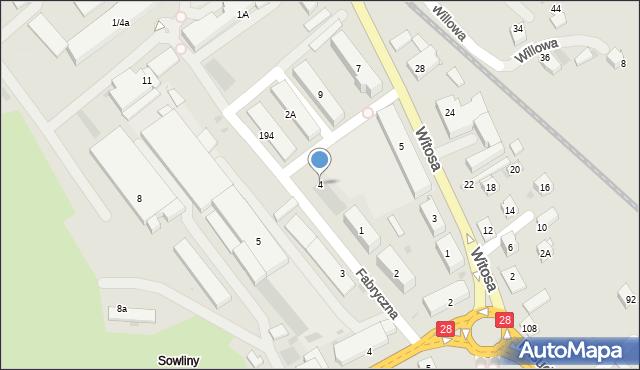 Limanowa, Fabryczna, 4, mapa Limanowa