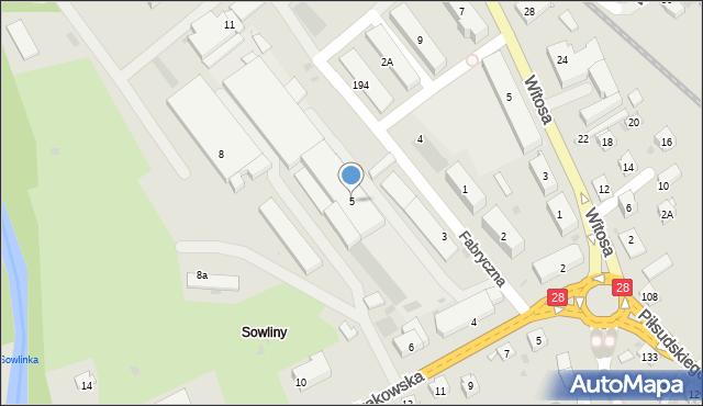Limanowa, Fabryczna, 5, mapa Limanowa