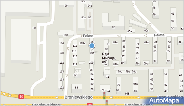 Toruń, Fałata Juliana, 105, mapa Torunia