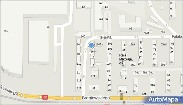 Toruń, Fałata Juliana, 113, mapa Torunia