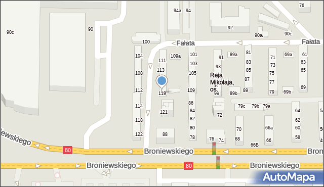 Toruń, Fałata Juliana, 119, mapa Torunia